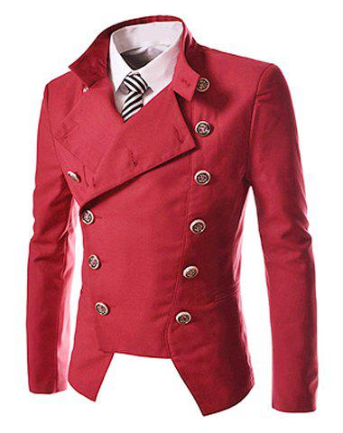 Unique Novel Style Stand Collar Double-Breasted Slimming Solid Color Long Sleeves Men's Blazer - L RED Mobile