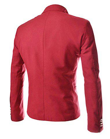 Online Novel Style Stand Collar Double-Breasted Slimming Solid Color Long Sleeves Men's Blazer - L RED Mobile