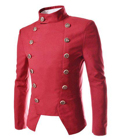 Online Novel Style Stand Collar Double-Breasted Slimming Solid Color Long Sleeves Men's Blazer RED 2XL