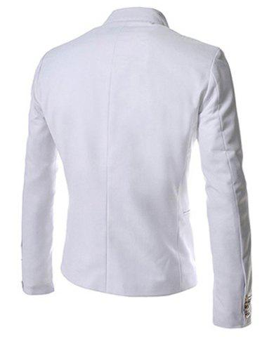 New Novel Style Stand Collar Double-Breasted Slimming Solid Color Long Sleeves Men's Blazer - M WHITE Mobile