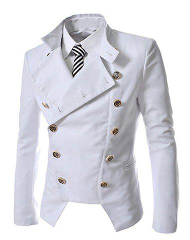 New Novel Style Stand Collar Double-Breasted Slimming Solid Color Long Sleeves Men's Blazer - L WHITE Mobile