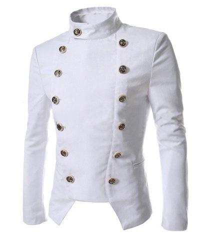 New Novel Style Stand Collar Double-Breasted Slimming Solid Color Long Sleeves Men's Blazer WHITE XL