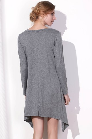 New Long Sleeve Asymmetrical Knitted Tunic Dress - XL GRAY Mobile