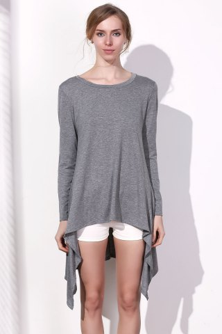 Latest Long Sleeve Asymmetrical Knitted Tunic Dress - XL GRAY Mobile