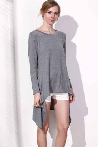 Store Long Sleeve Asymmetrical Knitted Tunic Dress - S GRAY Mobile