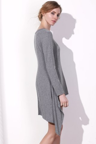Sale Long Sleeve Asymmetrical Knitted Tunic Dress - S GRAY Mobile
