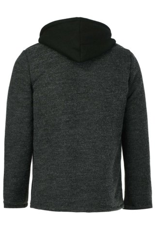 Fashion Slimming Hooded Stereo Pocket PU Leather Spliced Hit Color Long Sleeves Men's Woolen Blend Jacket - M BLACK Mobile