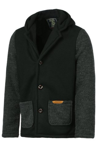 Unique Slimming Hooded Stereo Pocket PU Leather Spliced Hit Color Long Sleeves Men's Woolen Blend Jacket - M BLACK Mobile