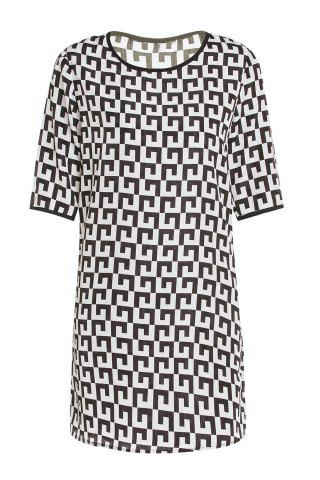 Outfits Casual Scoop Collar Short Sleeve Printed Chiffon Women's Dress