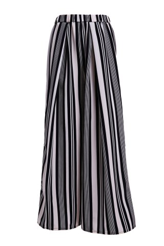 Trendy Vertical Striped Wide-Leg Palazzo Pants WHITE/BLACK L