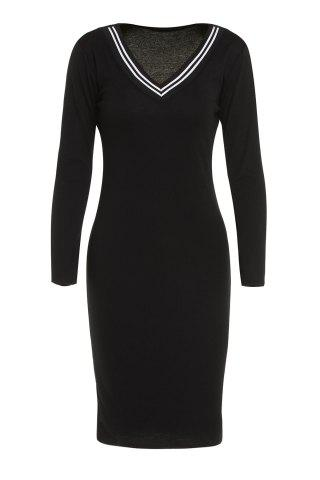 Outfit V-Neck Long Sleeve Bodycon Dress BLACK S
