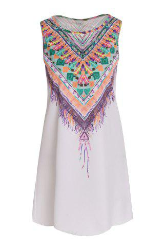 Best Ethnic Style Scoop Neck Sleeveless Printed Women's Dress - XL WHITE Mobile