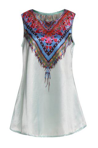 Ethnic Style Scoop Neck Sleeveless Printed Women's Dress - GREEN XL