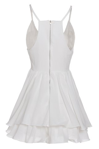 Fancy Sexy Spaghetti Strap Sleeveless Solid Color Low Cut Layered Women's Dress - S WHITE Mobile