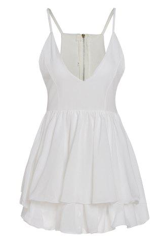 Affordable Sexy Spaghetti Strap Sleeveless Solid Color Low Cut Layered Women's Dress - S WHITE Mobile