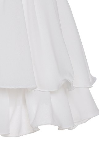 Trendy Sexy Spaghetti Strap Sleeveless Solid Color Low Cut Layered Women's Dress - S WHITE Mobile