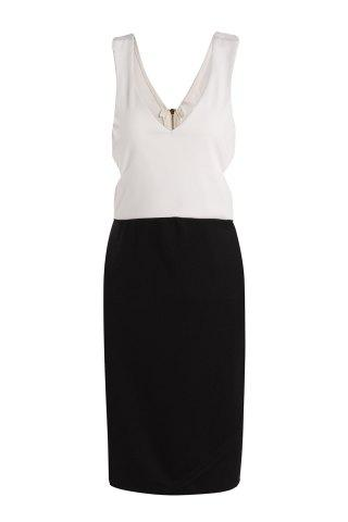 Sexy Plunging Neck Sleeveless Color Block Hollow Out Women's Club Dress - White And Black - One Size(fit Size Xs To M)