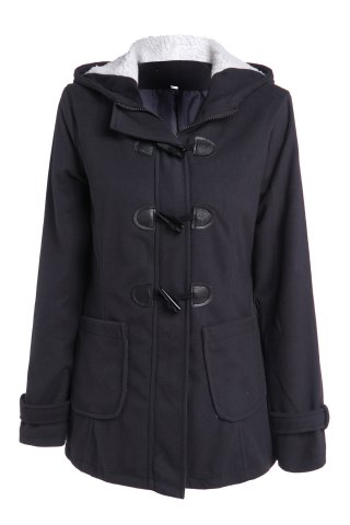 Hooded Double-Pocket Flocking Long Sleeve Long Winter Coat - Deep Gray - 2xl