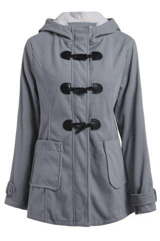 Hooded Double-Pocket Flocking Long Sleeve Long Winter Coat - Light Gray - 2xl