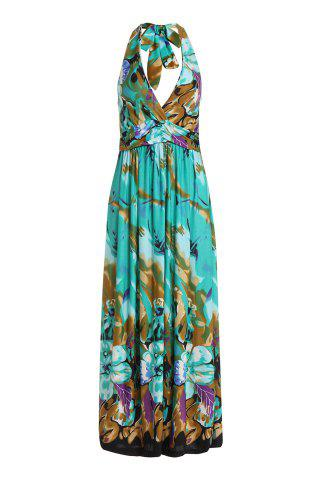 Shop Bohemian Halter Sleeveless Floral Print Low Cut Women's Dress