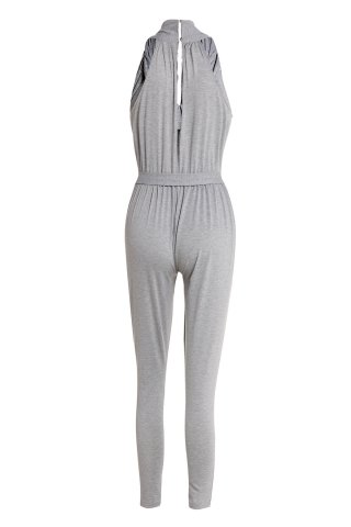 Outfit Stylish Plunging Neck Sleeveless Solid Color Pocket Design Women's Harem Jumpsuit - S GRAY Mobile