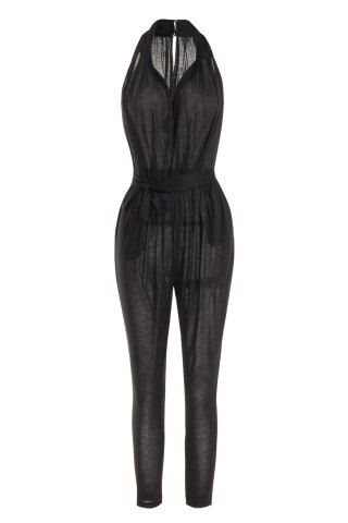 Outfits Stylish Plunging Neck Sleeveless Solid Color Pocket Design Women's Harem Jumpsuit - S BLACK Mobile