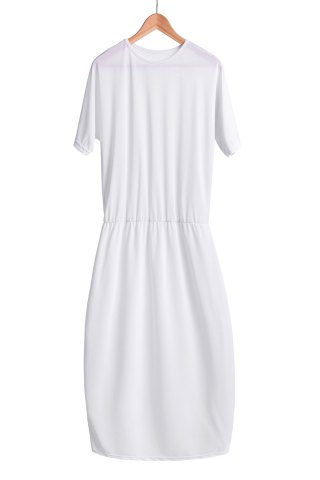 Shops Stylish Round Collar Short Sleeve Pure Color Women's Midi Dress WHITE S