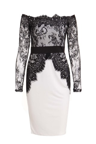 Outfit Boat Neck Long Sleeve See-Through Spliced Party Dress WHITE AND BLACK M