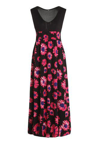 Shop Sexy Plunging Neck Sleeveless Elastic Waist Floral Print Women's Dress