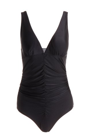 Best Sexy Plunging Neckline Push-Up Solid Color One-Piece Swimsuit For Women BLACK L