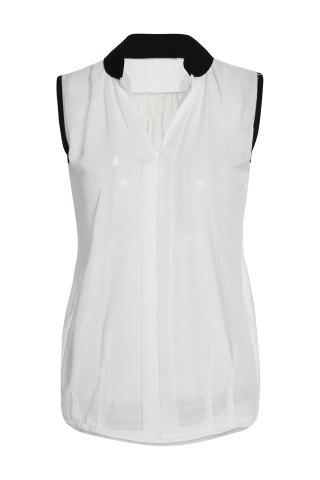 Fashion OL Style V-Neck Candy Color Sleeveless Chiffon Blouse For Women WHITE S