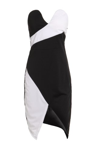 Buy Sexy Strapless Sleeveless Spliced Asymmetrical Women's Dress