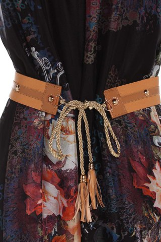 New Vintage Ruff Collar Sleeveless Floral Print Lace-Up Women's Dress - M BLACK Mobile