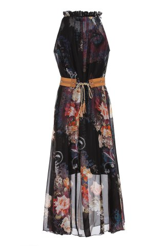 Discount Vintage Ruff Collar Sleeveless Floral Print Lace-Up Women's Dress - M BLACK Mobile