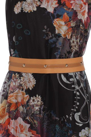 Outfits Vintage Ruff Collar Sleeveless Floral Print Lace-Up Women's Dress - M BLACK Mobile