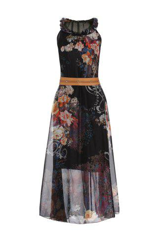 Fashion Vintage Ruff Collar Sleeveless Floral Print Lace-Up Women's Dress - M BLACK Mobile