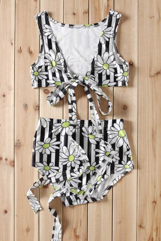 Latest Sexy Plunging Neck Floral Print Striped Criss-Cross Two-Piece Women's Swimsuit