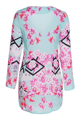 Buy Sexy Plunging Neck Floral Print Bodycon Long Sleeve Dress For Women - S COLORMIX Mobile