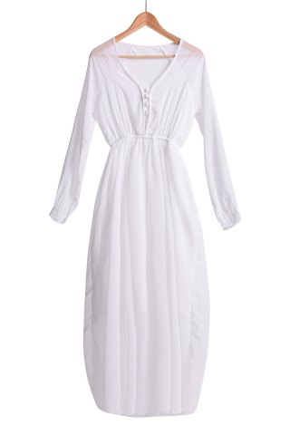 Refreshing V-Neck Solid Color Long Sleeve Chiffon Maxi Dress For Women - White - S