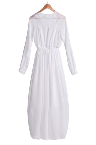 Fancy Refreshing V-Neck Solid Color Long Sleeve Chiffon Maxi Dress For Women - S WHITE Mobile