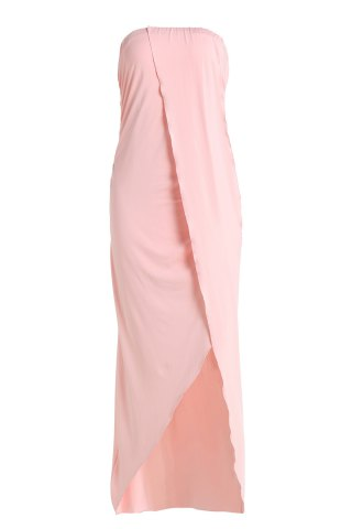 Maxi Asymmetric Prom Formal Strapless Dress - Pink - L