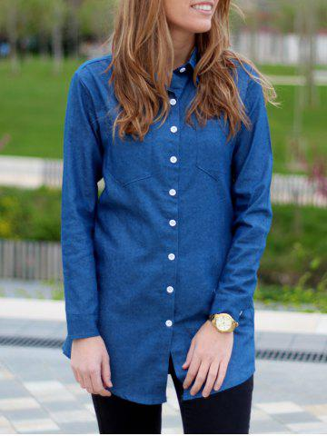 Discount Straight Long Denim Shirt BLUE S