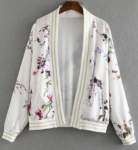 Affordable Women's Stylish Collarless Printed Long Sleeve Jacket