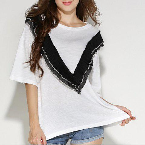 Cheap Stylish Jewel Neck Half Sleeves Solid Color T-Shirt For Women