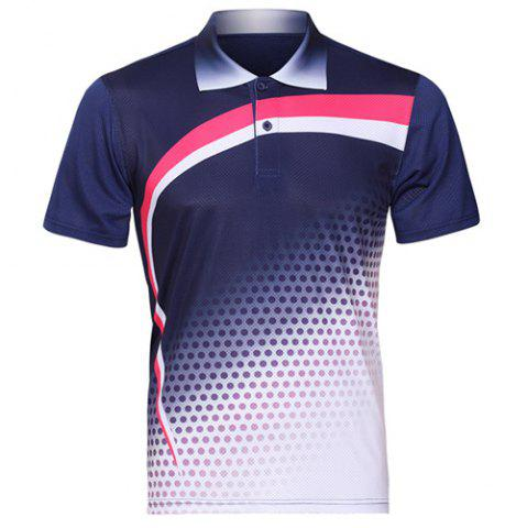 Outfit Men's Turn Down Collar Quick Dry Badminton Training T-Shirt SAPPHIRE BLUE S