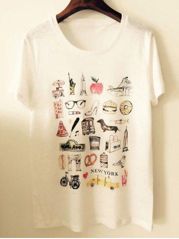 Hot Stylish Scoop Neck Short Sleeves Print T-Shirt For Women OFF WHITE M