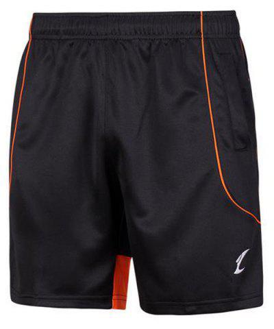 Affordable Printing Quick Dry Gym Elastic Waist Shorts - L BLACK AND ORANGE Mobile