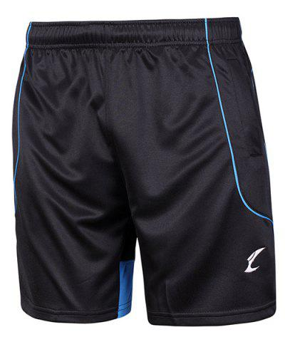 Latest Printing Quick Dry Gym Elastic Waist Shorts - L BLUE AND BLACK Mobile