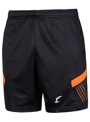 Trendy Sports Style Color Block Quick Dry Elastic Waist Shorts - L BLACK AND ORANGE Mobile