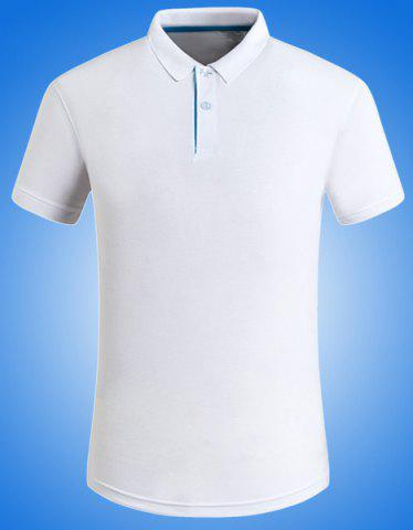 Fancy Solid Color Turn-Down Collar Plus Size Short Sleeve Polo T-Shirt For Men